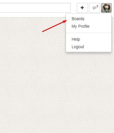 Tiếp theo bạn cần phải tạo bảng đầu tiên để lưu những ý tưởng của bạn vào đó. Bạn click vào logo phía trên bên phải sau đó click vào boards để vào phần tạo bảng