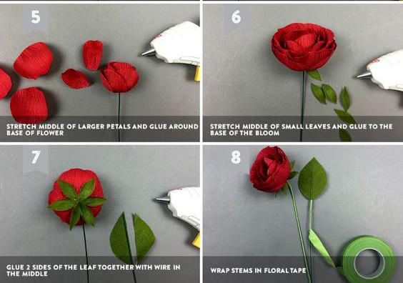 Bước 3: Lúc này bạn chỉ cần gắn đài hoa và lá hoa là xong, để cho thân cành là đều nhau màu xanh, hãy dùng băng dính sáp quấn xung quanh thân là được nhé. Chúc các bạn thành công nha.