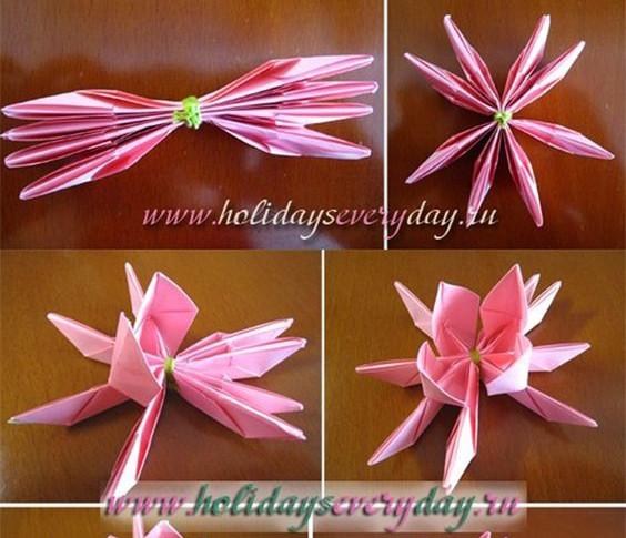 Tiếp theo, bạn dùng tay (dùng 2 ngón tay, ngón trỏ và ngón cái ở cả 2 bàn tay) nhẹ nhàng bẻ cánh hoa lên trênTương tự bẻ tất cả cánh hoa cho lớp thứ nhất. Khi bẻ cánh hoa, bạn nhớ bẻ thứ tự theo một chiều cố định cho cánh hoa sau chồng lên trên cánh hoa trước.Tiếp tục bẻ phần cánh hoa lớp thứ 2. Sen giấy không chỉ dùng để trang trí trong nhà mà bạn còn có thể gắn lên hộp quà tặng thay cho chiếc nơ khi gói quà cũng sẽ rất đẹp! Chúc các bạn thành công.