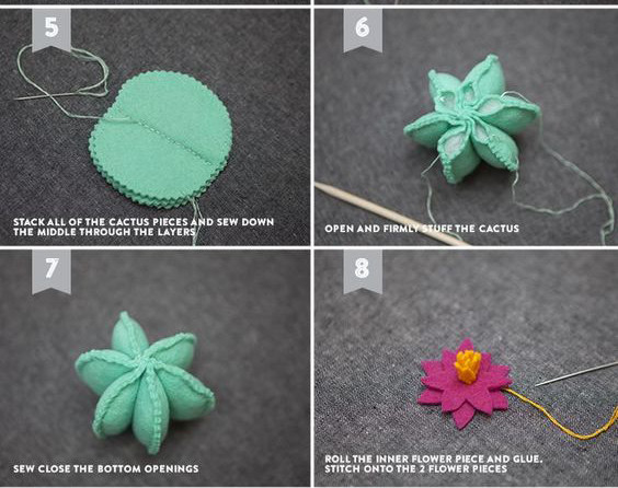 Tiếp theo xếp các hình tròn răng cưa lại với nhau và đính lại bằng một đường chỉ như hình nhắm cố định và chuẩn bị khâu tạo cánh. Mục tiêu tiếp theo khâu tạo cánh thì bạn hãy gộp 2 cánh khâu hình vòng cung theo đường răng cưa của vải chú ý để lại 1 đầu không khâu nhằm nhét bông và gắn lại vào chậu nhé, Để tạo nhụy hoa cho bông hoa xương rồng, lúc này bạn cắt 1 đoạn len vàng, cắt dài tầm 5cm rồi buộc nút giữa để cố định . Tiếp đó hãy dùng kim chỉ đính nhụy vào hoa và gắn kết lại vào cây bằng kim chỉ là được