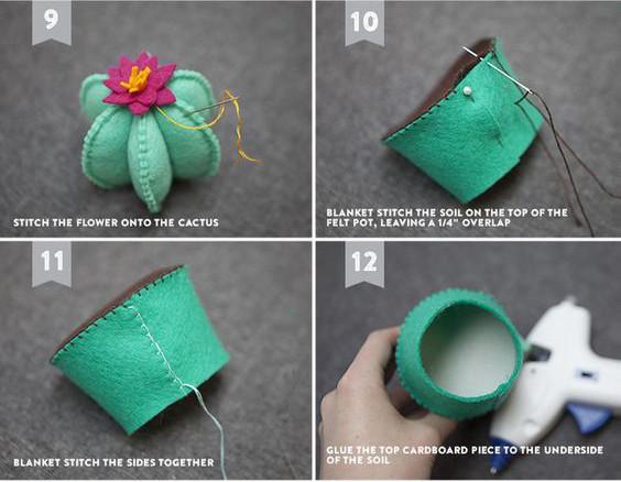 Lúc này bạn sẽ cần làm chậy hoa. Dùng ghim cố định vành chậu như hình và dùng miếng vải tròn màu nâu đã cắt trước đó khâu lại mặt đường tròn to của chậu nhằm mục đích là tạo ra mầu đất giả của chậu hoa. Bên trong các bạn nhét bông nha.