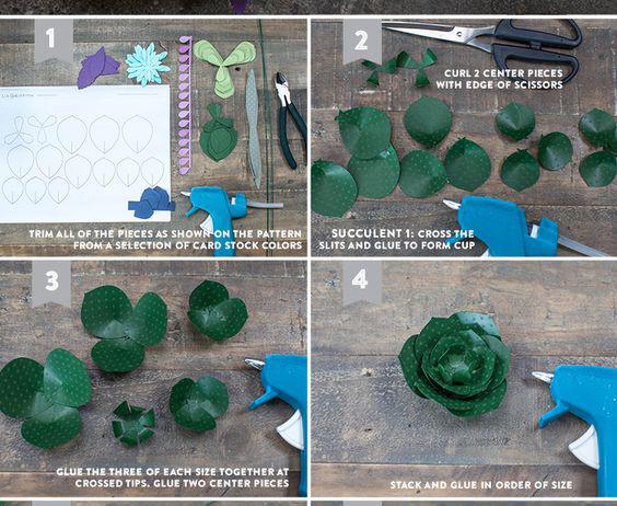 Bước 1: Các bạn hãy in và cắt giấy theo mẫu hoa đá như hình số 1 rồi cắt ra Bước 2: Dùng kéo cắt rời từng chiếc lá, dùng mũi kéo bấm đường thẳng dài 1/3 chiếc lá sen đá. Bước 3: Bạn lần lượt bấm cho tất cả 18 chiếc lá sen đá, chú ý bấm đường thẳng ở đầu cuống lá Bước 4: Gấp hai mép giấy ở hai bên đường cắt chồng lên nhau tạo dáng đứng cho chiếc lá. bạn dán 3 chiếc lá cùng kích thước lại với nhau tạo thành một lớp lá. Dán 2 chiếc lá 3 cánh chồng lên nhau sao cho các cánh nằm hơi chéo nhau, vuốt cong nhẹ các mép giấy tạo thành lớp lá nhỏ nhất. Tiếp đó, bạn hãy  dùng kim ghim vào tâm của lớp lá lớn nhất. và bạn dùng súng bắn keo dán từng lớp lá nhỏ lên lớp lá lớn, sao cho các lớp lá xen kẽ nhau.