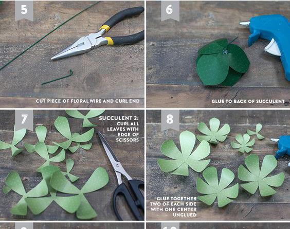Bước 5:  giấy màu xanh nhạt 3 cánh .Dùng mũi kéo vuốt cong nhẹ đầu chiếc lá vào trong. Sau đó, bạn cũng gắn kim ghim vào lớp lá lớn nhất rồi dán xen kẽ các lớp lá nhỏ hơn lên trên. Chú ý, bạn vuốt cong các chiếc lá vào trong để tạo hình sen đá trông tự nhiên hơn.