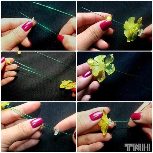 Bước này là kết bông hoa:  Chúng ta đầu tiên sẽ dùng sợi dây thép để sắp xếp bông theo thứ tự như sau: bạn xỏ đài trắng rồi đến lớp cánh răng cưa, lớp cánh tròn và nhụy vàng là cuối cùng.