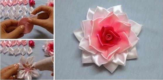Dùng keo nến ghép các cánh hoa lại với nhau ta được một bông hoa hoàn chỉnh rồi.  Chúc các bạn thành công nhé.