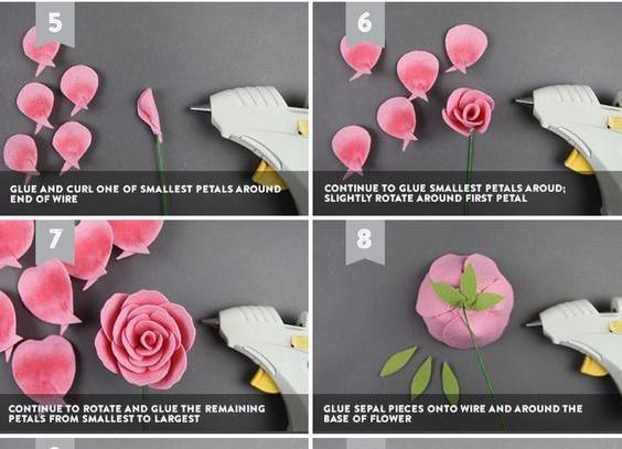 Bước tiếp theo bạn hãy dùng súng bắn keo gắn nhụy hoa và một đầu của cây thân thép. Tiếp theo là dùng các cánh còn lại so le như hình và bắn keo lại, tiếp theo là dùng phần lá gắn vào cuống hoa.