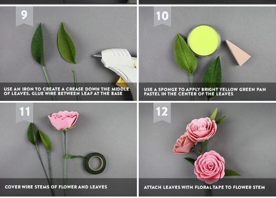Để có thể tiếp theo bạn hãy dùng màu nước phết lên chiếc lá đã cắt. Dùng giấy quấn quanh thân cây và gắn các bông hoa lại với nhau. Như vậy bạn đã có sản phẩm của riêng mình. Chúc các bạn sớm có sản phẩm