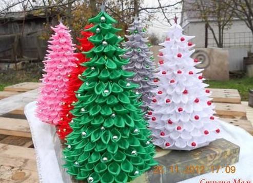 Sau khi phủ kín hình chóp bằng lá. ta gắn thêm các hạn ngọc màu vào lá. Bạn có thể làm cây thông noel với nhiều màu khác nhau. hoặc trộn các màu trên cùng một cây. như vậy chúng ta đã được một cây thông noel tuyệt đẹp rồi. chúc các bạn thành công nhé.