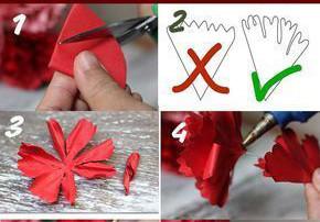 Cắt hình tròn sau đó gấp lại thành hình tam giác rồi tạo tua bằng kéo như hình