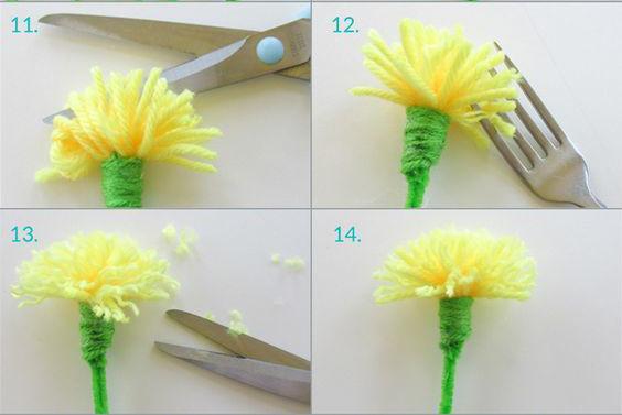 Tiếp theo dùng kéo cắt các đoạn kết nối của bông hoa và dùng rĩa kéo sợi len bạn sẽ có được những cánh cúc tự nhiên như hình. Đó là các cách làm hoa bằng len của mình, hi vọng các bạn sớm có sản phẩm thật đẹp