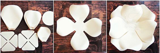 Đầu tiên bạn hãy cắt tạo hình những chiếc cánh lẻ như hình sẽ có 3 kích thước mỗi loại sẽ chênh nhau 1/4. Cắt hình tròn làm tâm hoa, tiếp theo cắt bông hoa 4 cánh liền như hình Bạn muốn hoa càng lớn thì cần tạo càng nhiều cánh để xếp so le nhiều tầng thì hoa sẽ lớn.