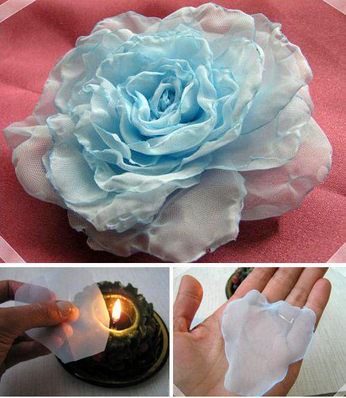 Đầu tiên bạn cắt vải thành từng cánh như hình rồi hơ trên ngọn lửa nhỏ như hình để cho viền cánh kết lại