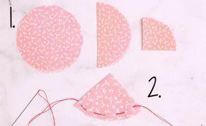 Bước 1: các bạn hãy cắt miếng vải thành hình tròn nhỏ như hình sau đó gấp 2 và gấp 3. Rồi khâu lại dạng khâu 1 rầu thắt nút lại sẽ ra cánh hoa. Cứ như vậy bạn sẽ có nhiều cánh hoa khác nhau.