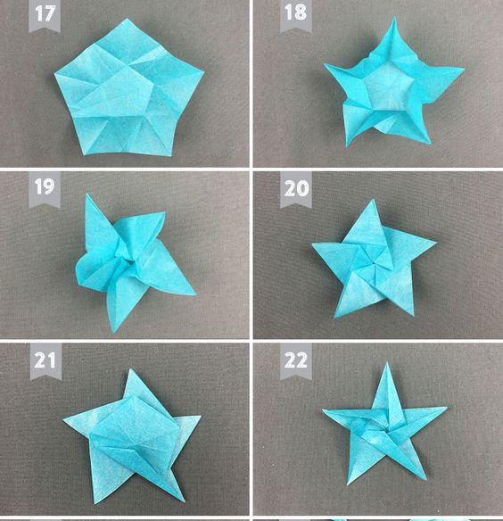 Tiếp tới bạn gấp góc từng phần sẽ có hình ngôi sao Chúc các bạn thành công với cách gấp ngôi sao