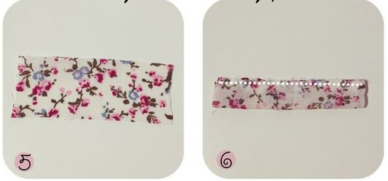 cắt một miếng vải hình chữ nhật gấp đôi lại và khâu mép ngoài của miếng vải lại như vậy ta có một cái đai rồi