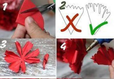 cắt giấy màu thành hình tròn. gấp lại thành hình tam giác. cắt đầu tròn như trong hình ta sẽ được một cánh hoa