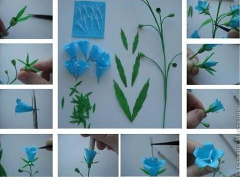 Ghép bông hoa vào phần nụ và cành.