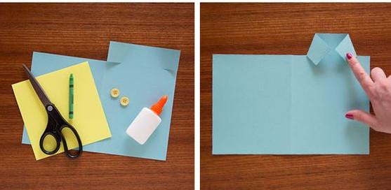 cắt giấy hình chữ nhật như hình trên.