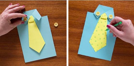 cố định 2 chiếc cúc lên phần cổ áo. dùng bút màu vẽ thêm trang trí cho chiếc cà vạt thêm sinh động.
