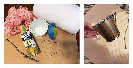 Dùng kéo cắt bìa catton thành hình trái tim, Sau đó dùng len quấn quanh bìa đó sao cho kín bìa catton như hình