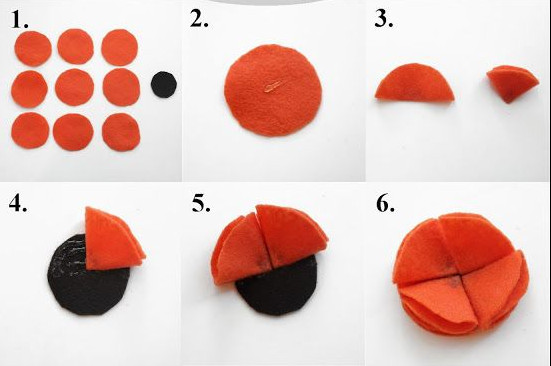 Cắt 10 hình tròn nhỏ trong đó có 1 hình tròn nhỏ hơn để làm đế hoa. gấp làm 4 phần gắn vào đế hoa