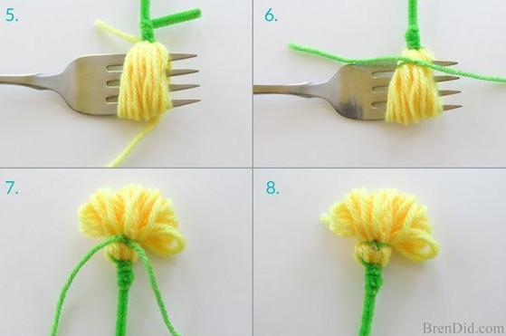 Buộc thắt nút ở răng của rĩa. rồi rút rĩa ra. cắt phần dây thừa