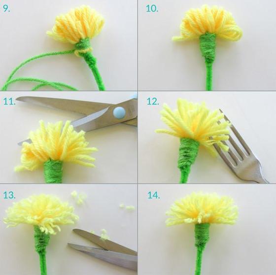 bây giờ lấy kéo cắt các đứt các sợi len ra để được các cánh hoa. sau đó cắt các cách hoa cho đều lại. như vậy là bạn đã được một bông hoa bồ công anh rồi. thật là đơn giản phải ko nào? chúc bạn thành công nhé.
