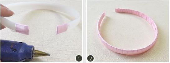 1, dùng dây ruy băng bịt 2 đầu của bờm lại 2 quấn quanh chiếc bờm như hình
