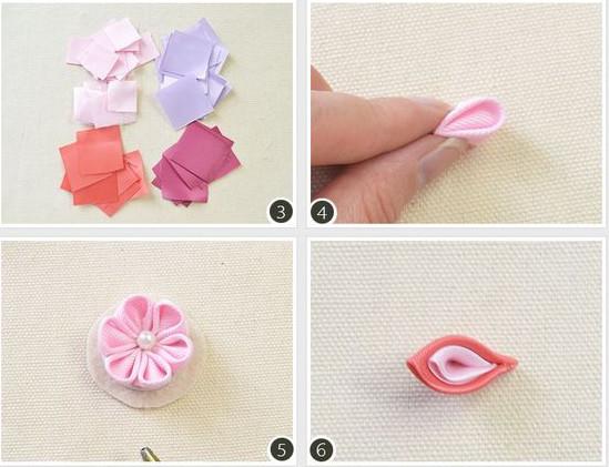 3, cắt dây ruy băng thành hình vuông như hình 4, Gấp thành hình trên. 5, Ghép lài  6, ghép 2 cánh hoa lại