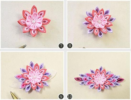 7, Ghép các cánh hoa lại với nhau. 8, Tiếp tục ghép các cánh hoa màu khác, 9, Ghép các cánh hoa sang 2 bên, 10, Ghép hết các cánh hoa để tạo thành hình trên.