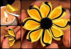 Cách làm bông hoa vải màu vàng đen sang trọng cực dễ