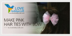 Cách làm nơ màu hồng cài tóc đơn giản