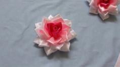Hướng dẫn cách làm bông hoa hồng từ dây ruy băng. đơn giản nhưng đẹp.