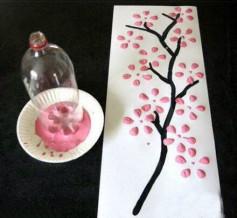 Làm tranh hoa đào cực kỳ đơn giản